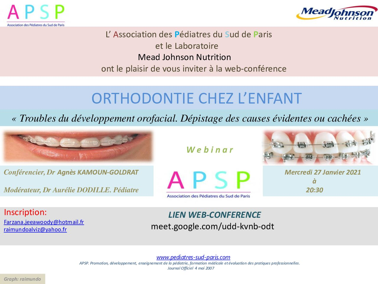 WEB-CONFERENCE 27 JANVIER 2021 ORTHODONTIE